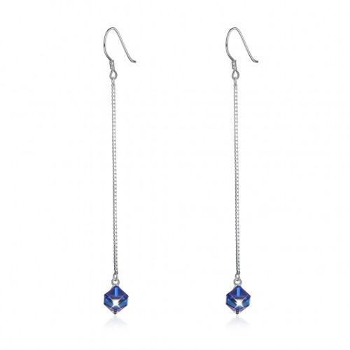 Crystal comes from the swarovski element diamond crystal long sterling silver earrings