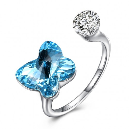 The crystal comes from the swarovski element S925 sterling silver butterfly ring