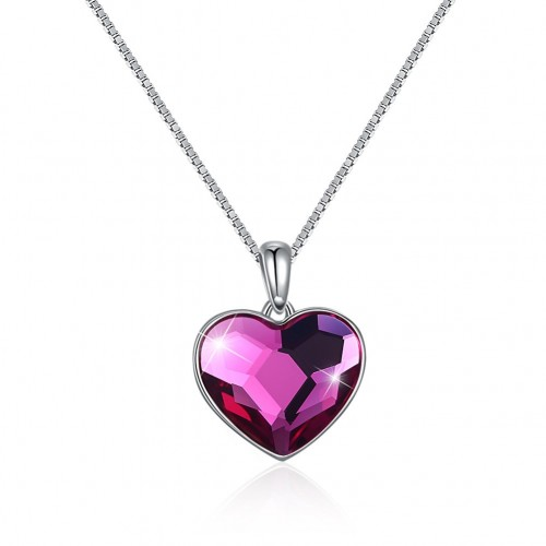 A stylish crystal necklace from the swarovski S925 sterling silver heart with two straps