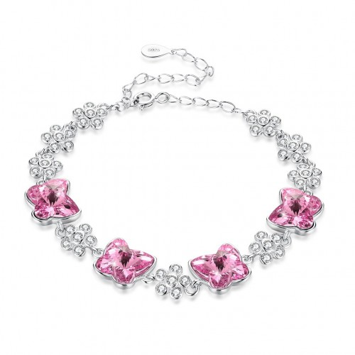 Crystal comes from the swarovski element crystal butterfly S925 sterling silver bracelet