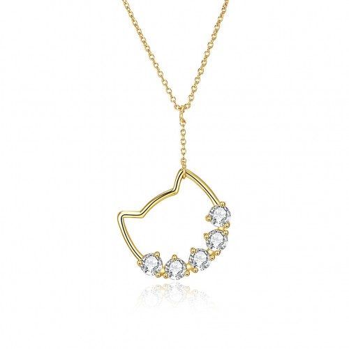 Crystals from swarovski The S925 sterling silver kitten pendant necklace