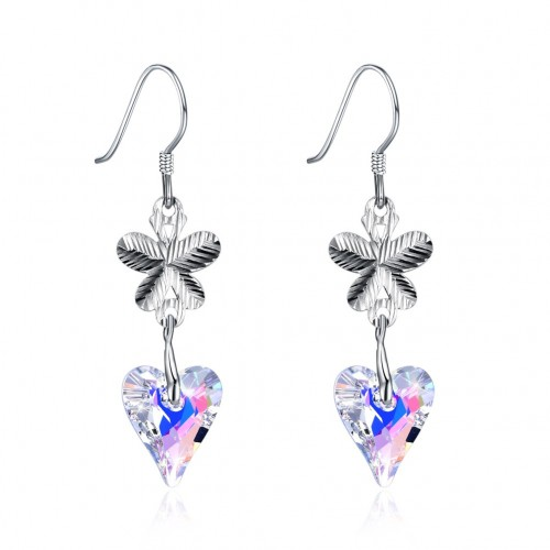 Crystal comes from the swarovski element butterfly heart S925 sterling silver earrings