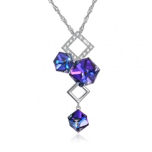 Swarovski's diamond - shaped S925 sterling silver necklace