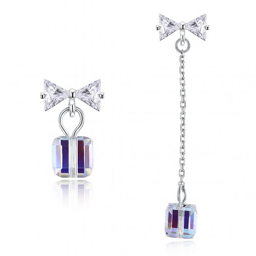 crystal comes from swarovski's irregular square sugar pure silver earrings
