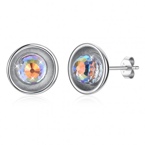 Crystal comes from the swarovski element round S925 sterling silver stud