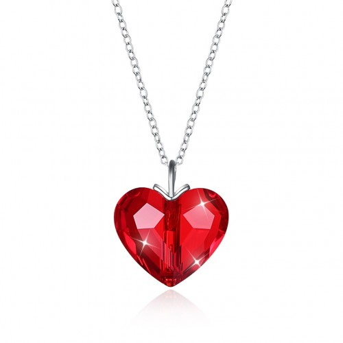 Crystals from swarovski S925 sterling silver heart romantic pendant necklace