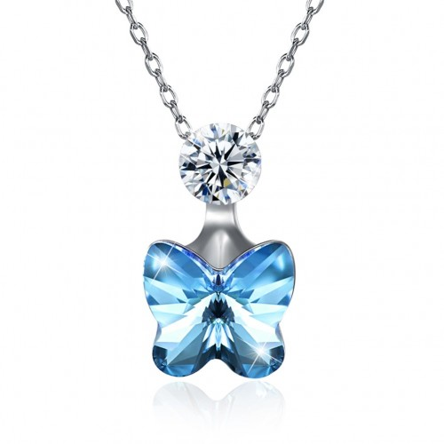 Crystal S925 butterfly pendant necklace from swarovski