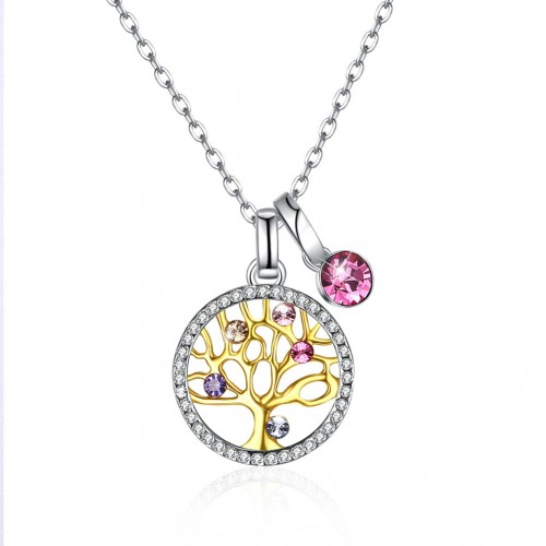 Crystals from swarovski S925 sterling silver multiple daphne tree crystal pendant necklace