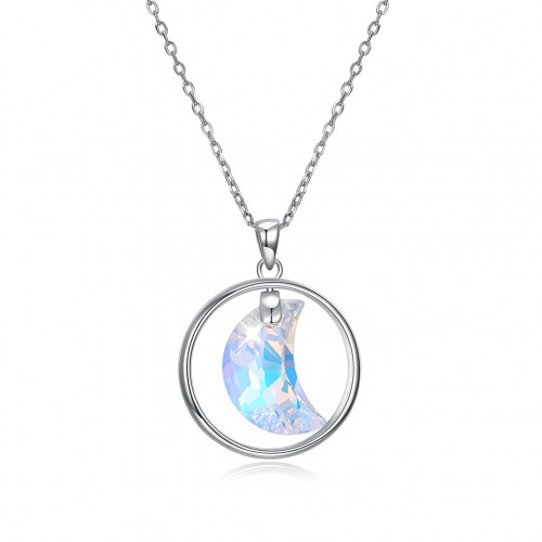 Crystal comes from the swarovski\'s round moon female high-end sterling silver necklace
