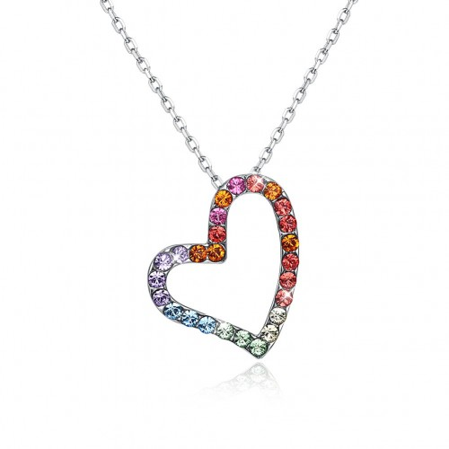 Crystals from swarovski S925 color heart-shaped necklace