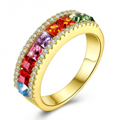 Crystals from swarovski S925 sterling silver fashion color crystal ring