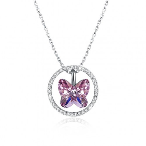 Crystals from swarovski S925 butterfly 3 style wear ring pendant necklace
