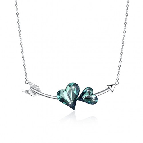 Crystals from swarovski S925 sterling silver double love romantic pendant generous necklace