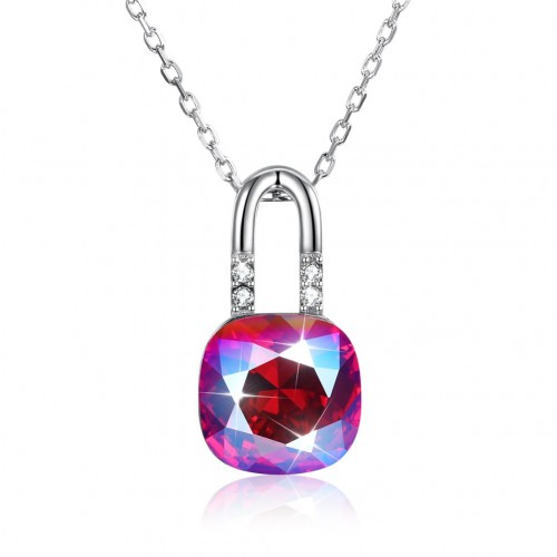Crystals from swarovski S925 sterling silver lock crystal pendant necklace