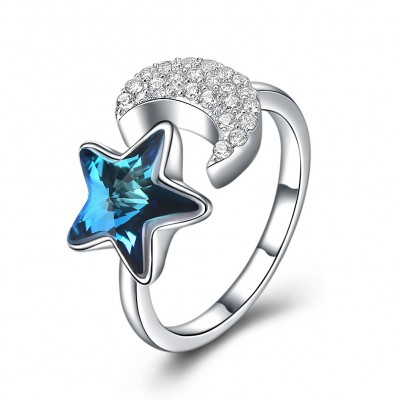 S925 fashion sterling silver comes from the swarovski element star moon shaped open ring.