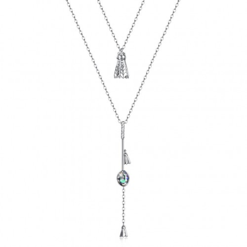 Crystals from swarovski S925 sterling silver stacked badminton irregular pendant necklace