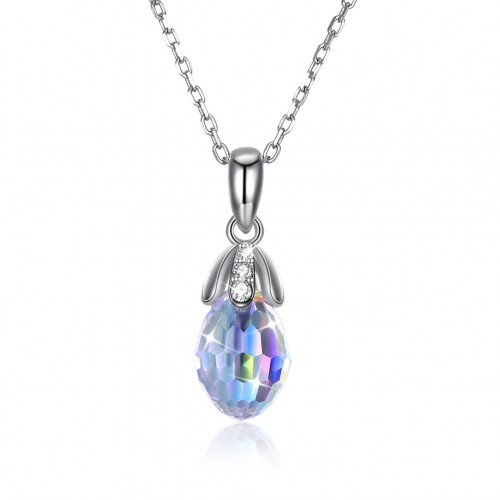 Crystals from swarovski S925 sterling silver drop crystal pendant necklace