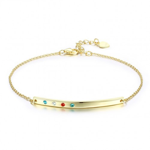 Crystals from swarovski S925 pure silver band multi-color light luxury fashion bracelet