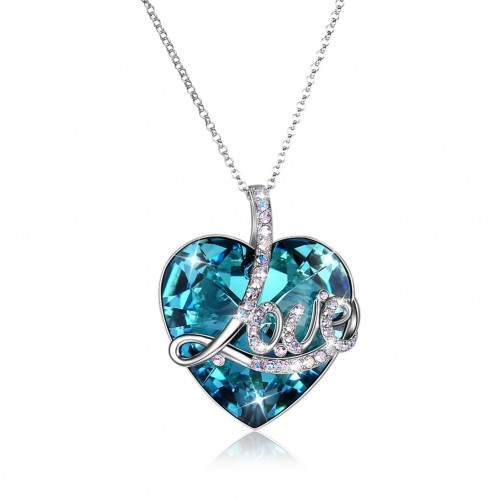 Crystals from swarovski S925 sterling silver LOVE heart pendant sweater chain