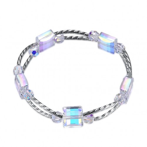 S925 trend Korean crystal block sterling silver bracelet