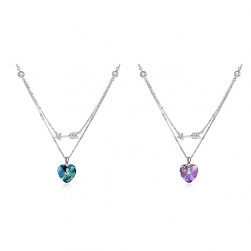 Swarovski's heart-shaped two-color S925 sterling silver necklace