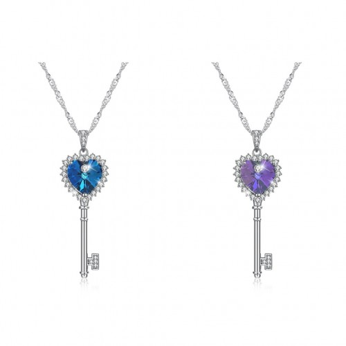 Swarovski's shining love key two colors S925 sterling silver necklace