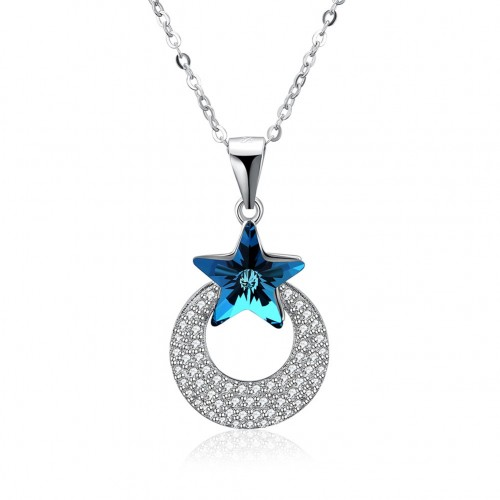 S925 sterling silver sapphire necklace