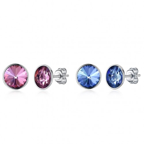 Crystal comes from swarovski\'s round S925 sterling silver ear stud