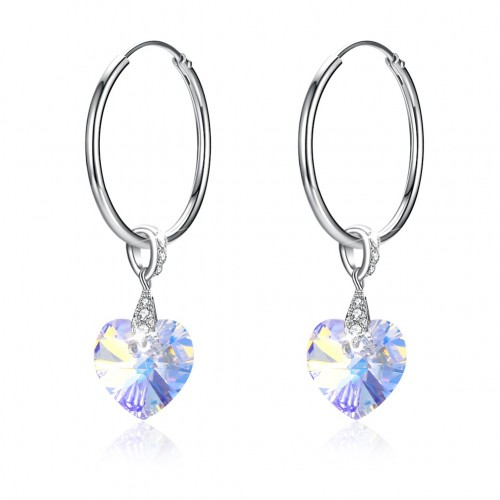 Crystals from swarovski S925 sterling silver heart crystal circle pendant earrings