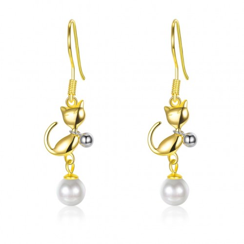 Crystals from swarovski S925 sterling silver cat earrings