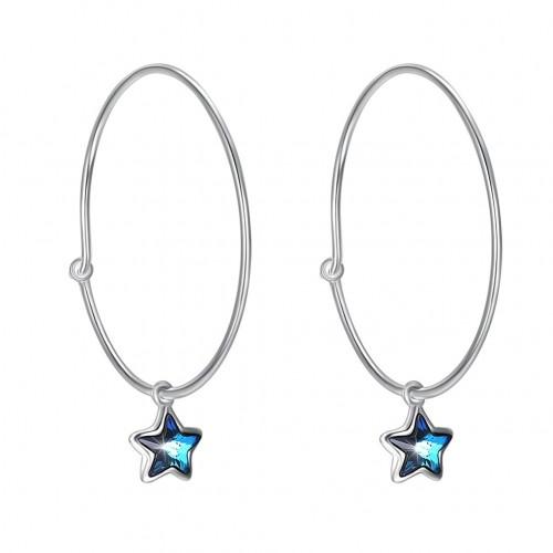 Swarovski element of the star 3cm ear ring S925 sterling silver earrings