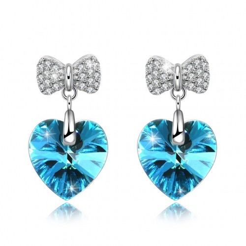Crystal comes from the swarovski S925 sterling silver bowknot heart stud