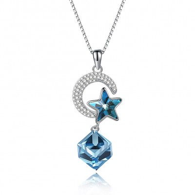 S925 fashion sterling silver crystal comes from the swarovski element star moon necklace