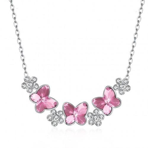 Swarovski crystal butterfly S925 sterling silver necklace