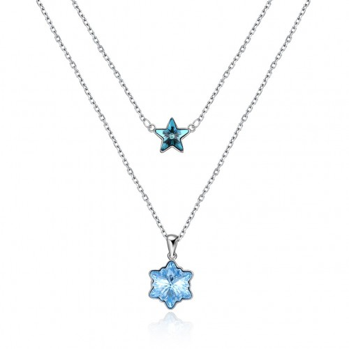 S925 fashion sterling silver from the swarovski element star snowflake with a sterling silver necklace.
