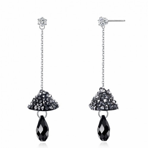 Crystal comes from swarovski\'s dark, sexy mushroom full of popular sterling silver earrings