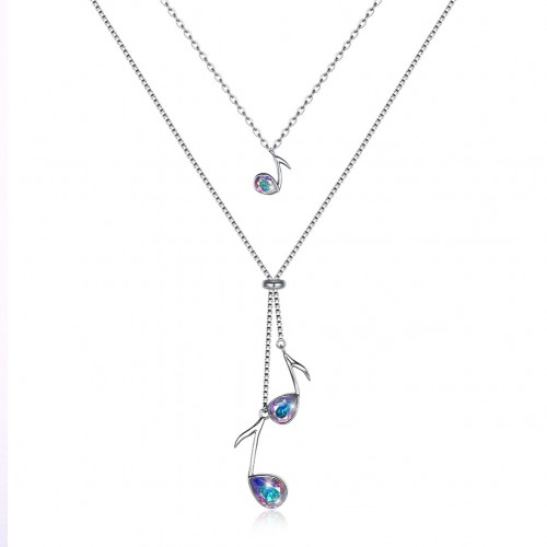 Crystals from swarovski S925 sterling silver stacked with note trend pendant necklace