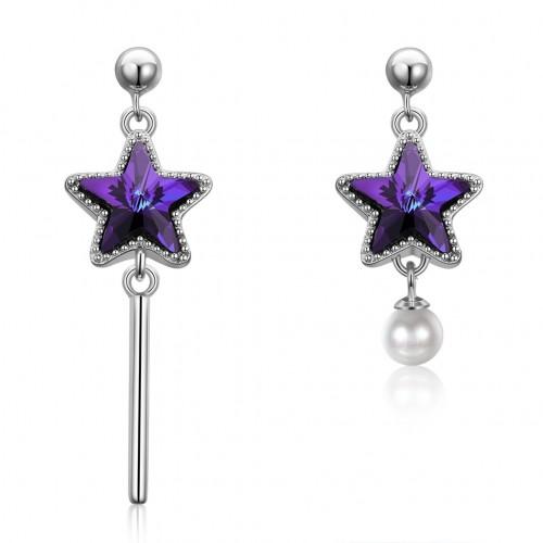 S925 sterling silver pentagram cylinder earrings