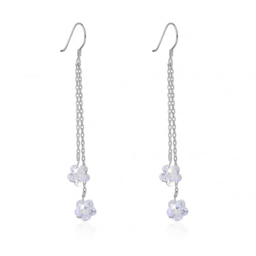 Crystal comes from the swarovski flower\'s long, sterling silver earrings