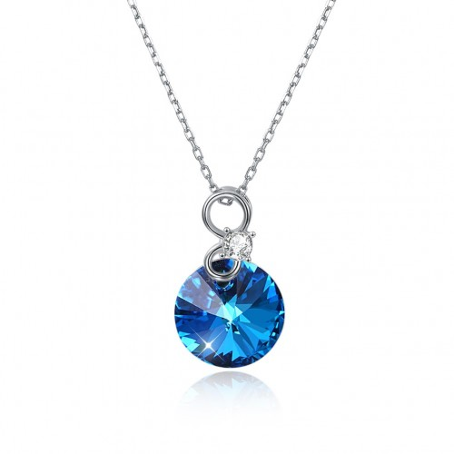 Crystals from swarovski S925 sterling silver round crystal pendant necklace