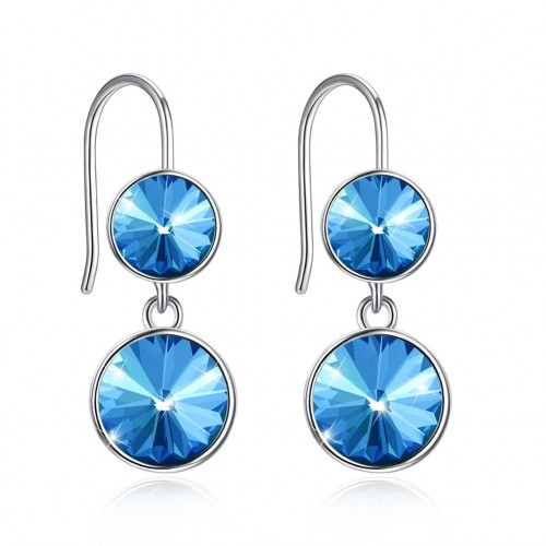 Crystal comes from the swarovski element double crystal S925 sterling silver earrings