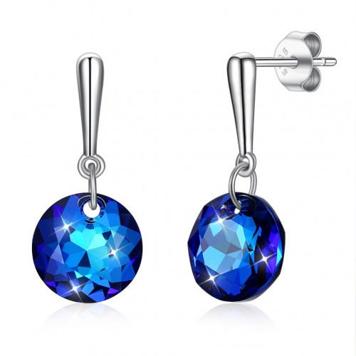 Crystal comes from swarovski element blue stone S925 sterling silver ear stud