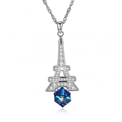 Swarovski iron tower S925 sterling silver necklace