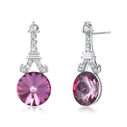 Crystal is from the swarovski simple tower tricolor popular sterling silver ear nail