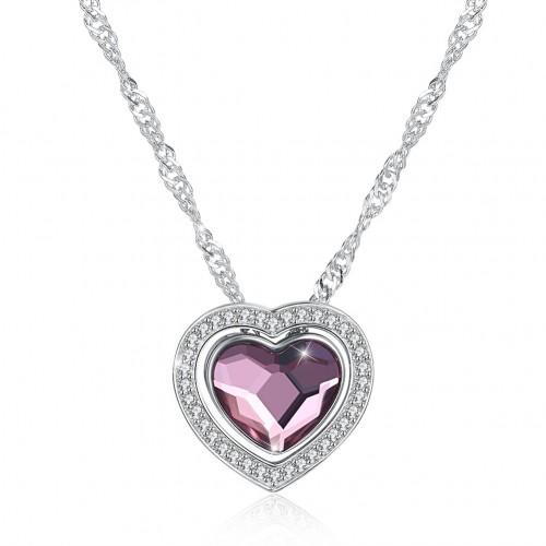 Swarovski double heart dual-core DIYS925 sterling silver necklace