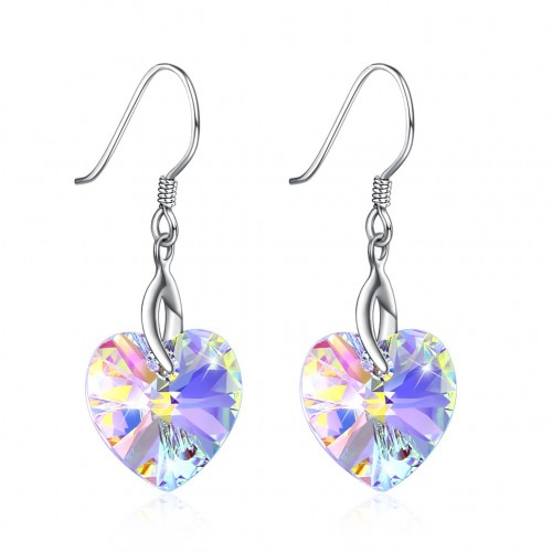 Crystal comes from the swarovski element heart shape S925 sterling silver earrings