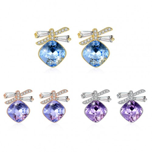 Crystals from swarovski S925 sterling silver bow earrings