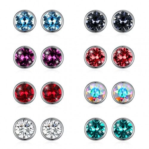 Crystal comes from swarovski crystal S925 sterling silver round ear stud