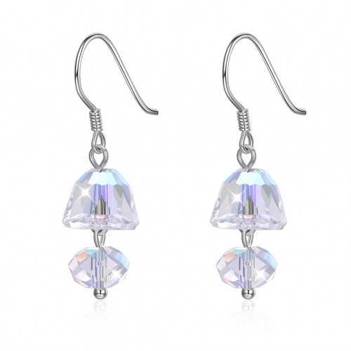 Crystal comes from the swarovski double crystal simple silver earrings