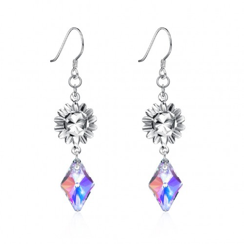 Crystal comes from swarovski\'s stylish diamond S925 sterling silver earrings